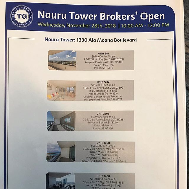 Nauru Tower joint Brokers open House today! Please come and see before holiday busy season!#hawaiirealestate #ハワイ不動産 #
